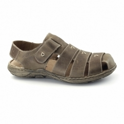 22071-26 Mens Leather Touch Fasten Sandals Brown