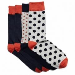 BOSO Mens Cotton Socks 4 Pack Navy Blazer