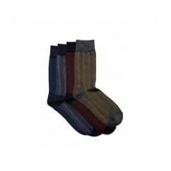 FADED Mens Cotton Socks 4 Pack Black/Dark Grey