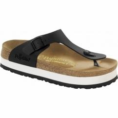 GIZEH Ladies Platform Toe Post Sandals Black