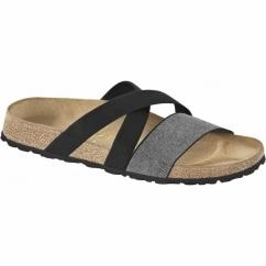 COSMA Ladies Stretch Flat Sandals Black/Silver