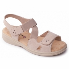 LOUISE Ladies Extra Wide Plus Velcro Sandals Beige