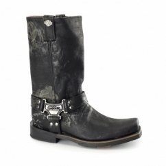 SAWYER Mens Leather Biker Boots Black