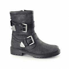WILDER Mens Leather Buckle Biker Boots Slate Ardois