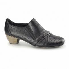 41715-00 Ladies Leather Slip On Heeled Shoes Black