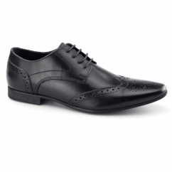 WILLIAM Mens Leather Pointed Brogues Black
