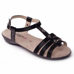 PEARL Ladies Buckle Wide Fit Sandals Black