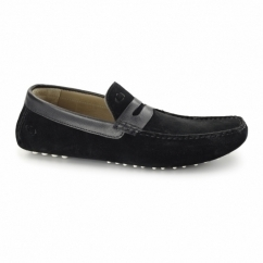 MORGAN Mens Suede Moccasin Shoes Black