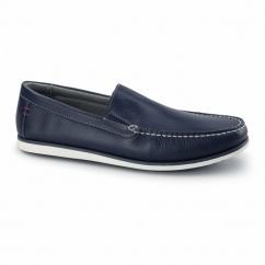 BOB PORTLAND Mens Leather Wide Loafers Navy