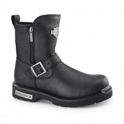 STARTEX Mens Leather Zip Buckle Biker Boots Black