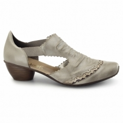 43783-62 Ladies Leather Slip On Sandals Beige