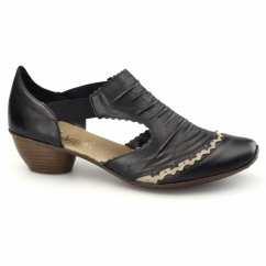43783-00 Ladies Leather Slip On Sandals Black