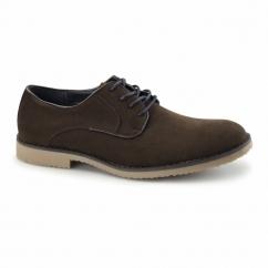 NASHVILLE Mens Faux Suede Lace Up Desert Shoes Dark Brown