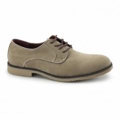 NASHVILLE Mens Faux Suede Lace Up Desert Shoes Beige