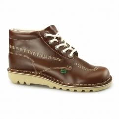 KICK HI Mens Leather Boots Dark Tan