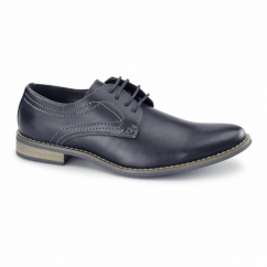 NEWBURY Mens Faux Leather Derby Shoes Navy