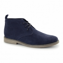 PANAMA Mens Faux Suede Desert Boots Navy