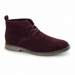 PANAMA Mens Faux Suede Desert Boots Burgundy