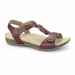 GOODYEAR Ladies Leather Floral Sandals Red