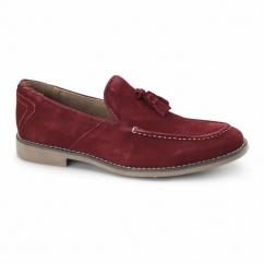 BARNES Mens Suede Tassle Loafers Red