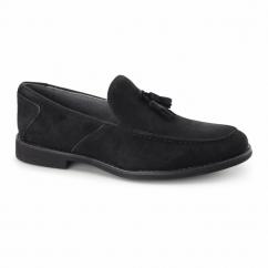 BARNES Mens Suede Tassle Loafers Black