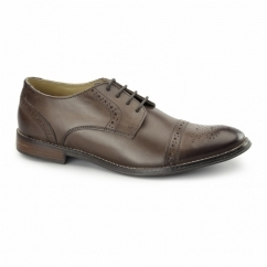 GRAYSON Mens Leather Toe Cap Brogues Brown