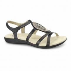 HOUSTON Ladies Jewel Velcro Sandals Black