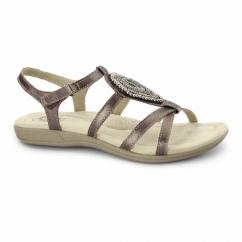 HOUSTON Ladies Jewel Velcro Sandals Dark Copper