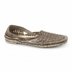 AZTEC WEAVE Mens Leather Woven Sandals Brown