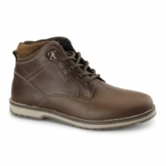 REELAN Mens Leather Ankle Boots Tan