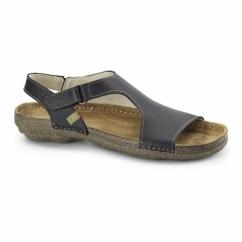 N309 Ladies Leather Slingback Sandals Black