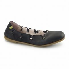 N961 Ladies Leather Flat Shoes Antique Black