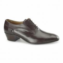 NEVADA Mens Leather Plain Cuban Heel Shoes Dark Brown