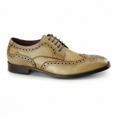 LUGANO Mens Leather Derby Brogues Tan