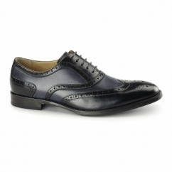 CRESTO Mens Leather Oxford Brogues Black/Navy