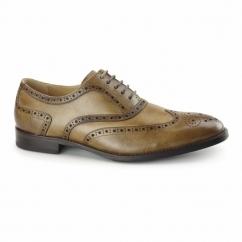 CRESTO Mens Leather Oxford Brogues Tan