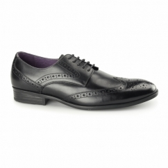 LANCETTI Mens Leather Derby Brogues Black