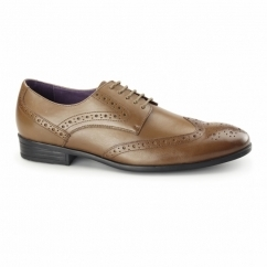 LANCETTI Mens Leather Derby Brogues Tan