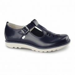 KICK T SUMA Ladies T-Bar Leather Shoes Dark Blue