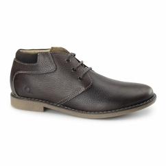 TOR Mens Leather Desert Boots Dark Brown
