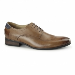 GIORGIO Mens Leather Derby Brogues Tan