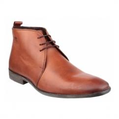 CUMIN Mens Waxy Leather Chukka Boots Tan
