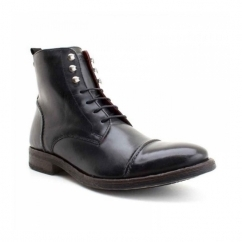 CLAPHAM Mens Waxy Leather Derby Boots Black