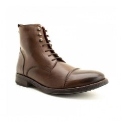 CLAPHAM Mens Burnished Leather Derby Boots Cocoa