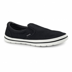 NORLIN SLIP ON Mens Canvas Trainers Black/White
