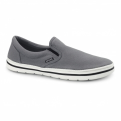 NORLIN SLIP ON Mens Canvas Trainers Charcoal/White