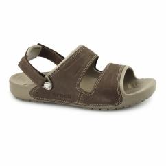 YUKON Mens Two Strap Mule Sandals Khaki/Espresso