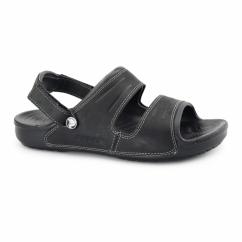YUKON Mens Two Strap Mule Sandals Black/Black