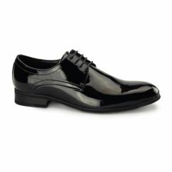 TREVOR Mens Patent Leather Derby Shoes Black - ACCC