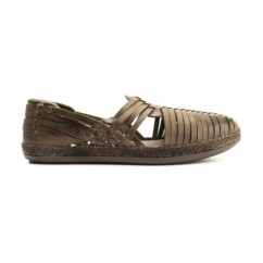 GLASTO WEAVE Mens Leather Woven Sandals Brown